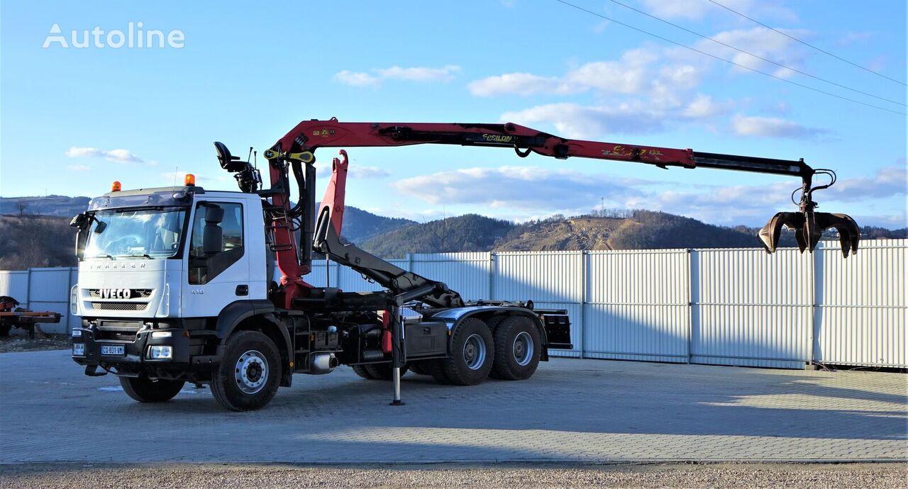 IVECO TRAKKER 410 Abrollkipper+Kran 6x4 camión con gancho