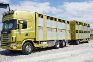 SCANIA R164 V8 , 6x2 , 2 hydraulic decks , 70m2 , live stock  camión para transporte de ganado + remolque para transporte de ganado